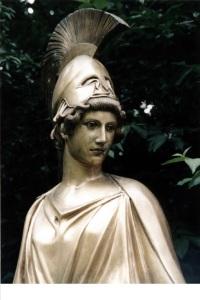 Atena, deusa da sabedoria, nascida da cabeça de Zeus.