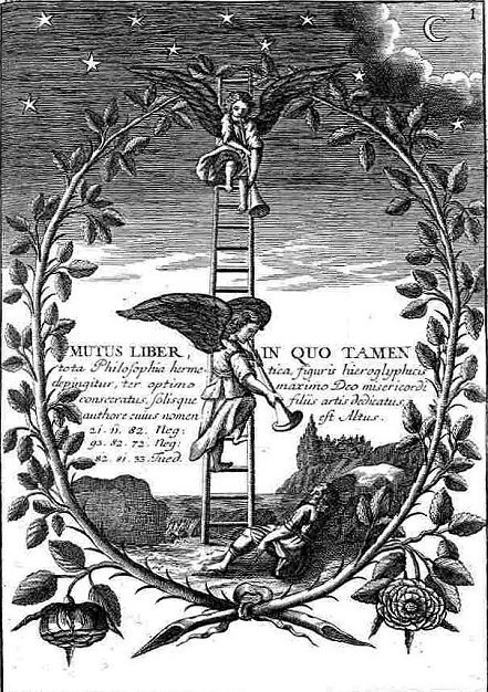 Primeira figura do Mutus Liber, o livro mudo da alquimia: os Anjos, que sobem e descem pela Escada de Jacó, acordam o Aspirante de seu sono. Os praticantes de Yoga podem tirar conclusões muito interessantes acerca desta imagem.