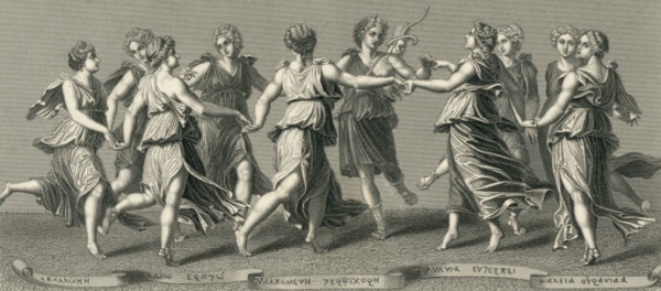 As nove Musas dançam com Apolo.