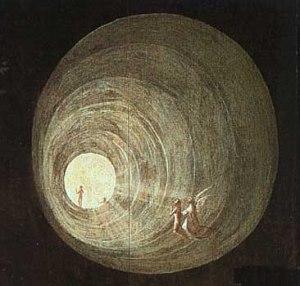 O túnel de luz, tal como foi concebido por Hieronymus Bosch (1450 -- 1516)