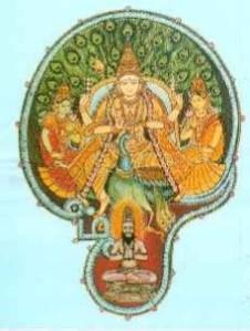 A letra correspondente à sílaba Aum na língua tâmil, tendo, em seu interior, as imagens do deus Murugan, montado no Pavão, com suas duas consortes místicas, Valli e Devasena. E, em baixo deles, o siddha Boganathar, sentado em meditação.