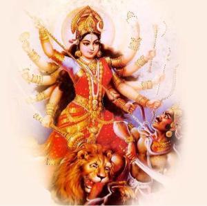 Durga, a Grande Deusa em seu aspecto guerreiro, cujo poder o poema invoca para libertar a Índia do domínio britânico.