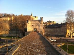 """A ponte que inspirou, no século XV, a famosa canção: """"Sur le Pont d'Avignon, / L'on y danse, l'on y danse, / Sur le Pont d'Avignon, / L'on y danse tous en rond"""" [Sobre a Ponte de Avignon, / Nós dançamos, nós dançamos, / Sobre a Ponte de Avignon, / Nós dançamos em uma roda]. Avignon foi sede do papado, de 1309 a 1378, quando sete papas consecutivos residiram nessa cidade ao invés de em Roma. O Palácio dos Papas aparece no fundo da foto, atrás da muralha, do lado direito de quem olha. A foto foi tirada por minha amiga Neusa Andrade, que nos recebeu com a máxima amorosidade e gentileza em seu apartamento, na cidade de Montélimar, considerada a porta de entrada da Provença."""